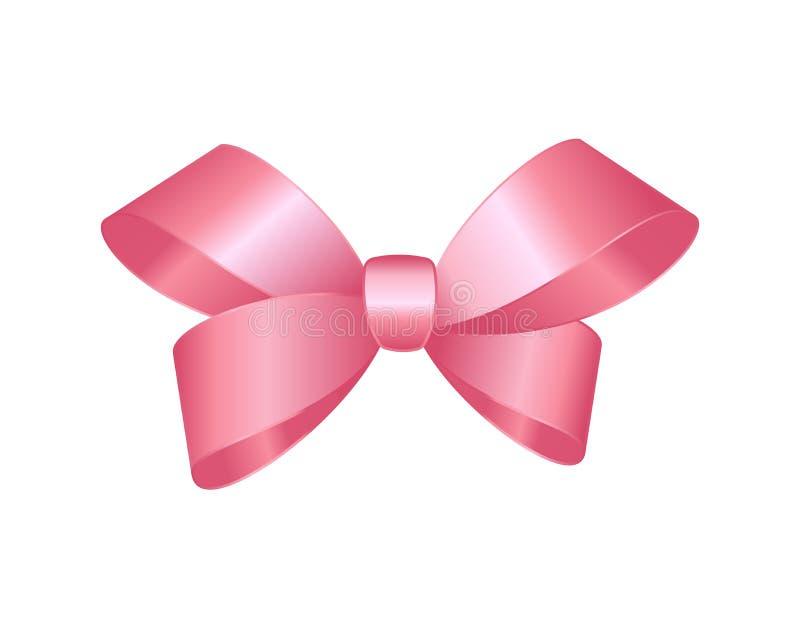 Cierre rosado brillante del arco del regalo del satén del vector para arriba aislado en el fondo blanco stock de ilustración