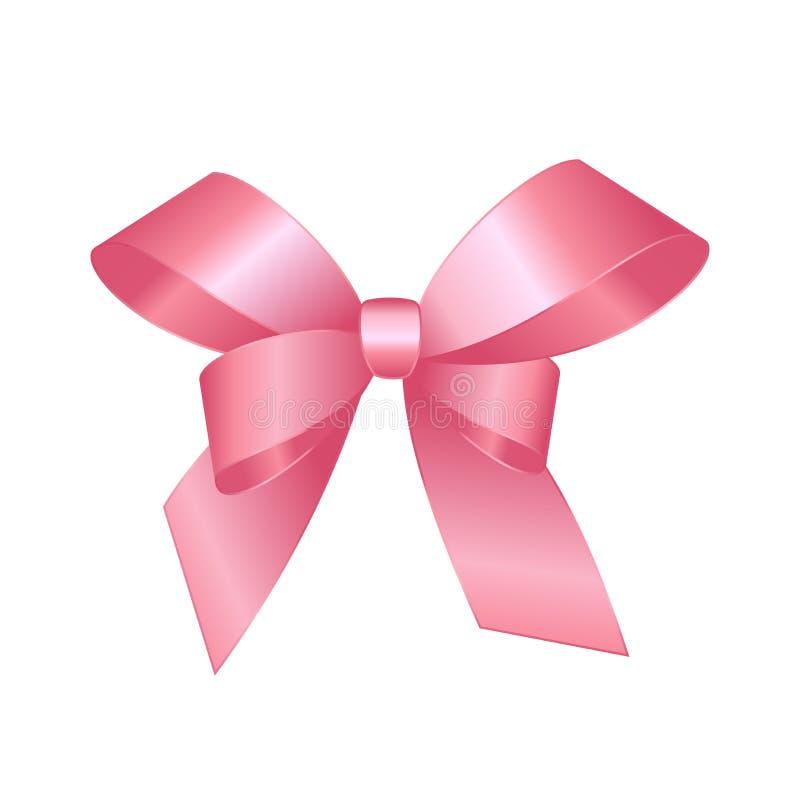 Cierre rosado brillante del arco del regalo del satén del vector para arriba aislado en el fondo blanco ilustración del vector