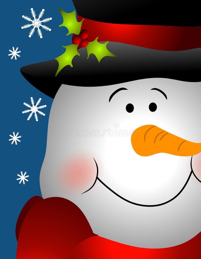 Cierre sonriente de la cara del muñeco de nieve para arriba stock de ilustración