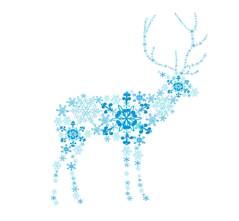 Ciervos abstractos de los copos de nieve libre illustration