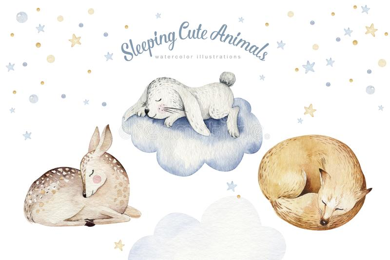 Ciervos animales de sueño lindos de la historieta, ejemplo exhausto de la acuarela de la mano del oso Desgaste del cuarto de niño stock de ilustración