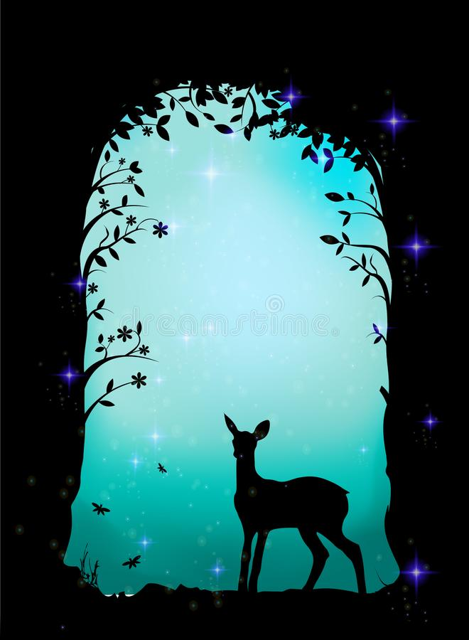 Ciervos, cervatillo en el bosque, cueva de hadas, libre illustration