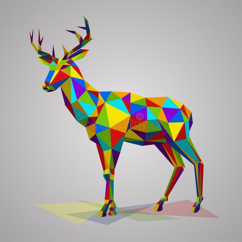 Ciervos coloridos con los cuernos Ejemplo del vector en estilo poligonal Animal abigarrado del bosque en el fondo blanco stock de ilustración