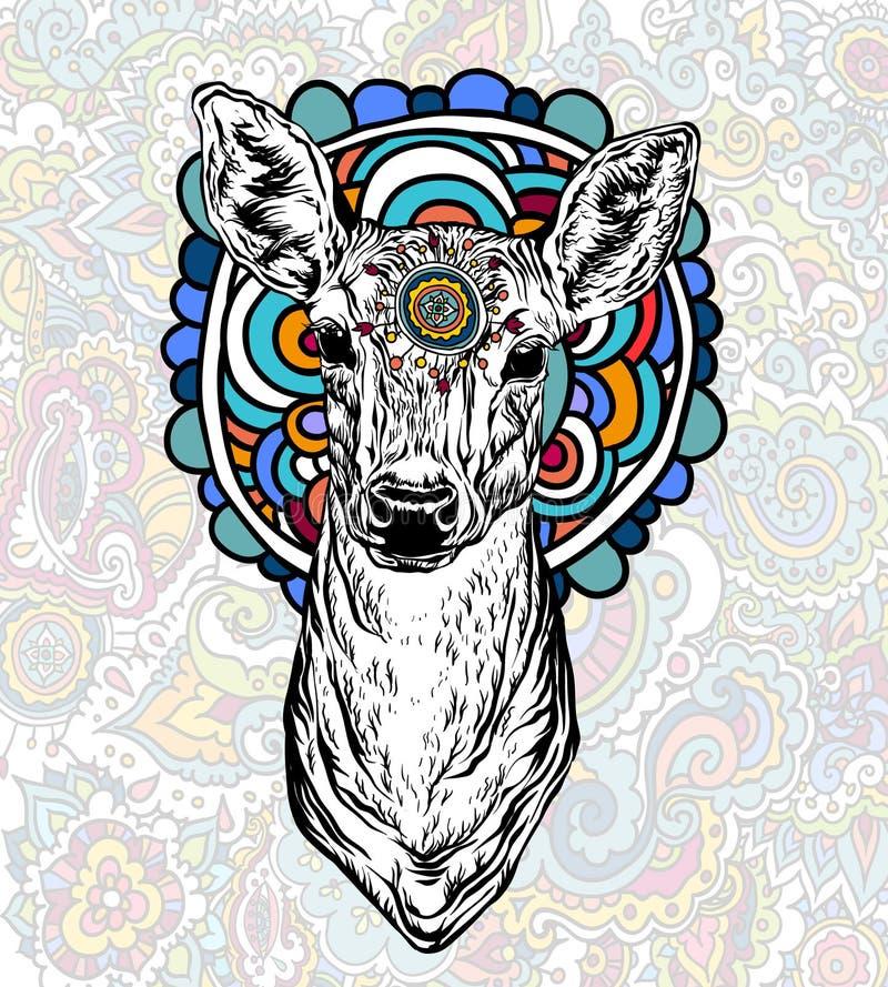 Ciervos con el ornamento coloreado stock de ilustración
