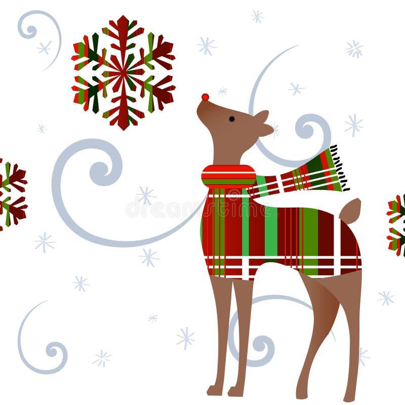 Ciervos con el suéter y la bufanda de la tela escocesa stock de ilustración