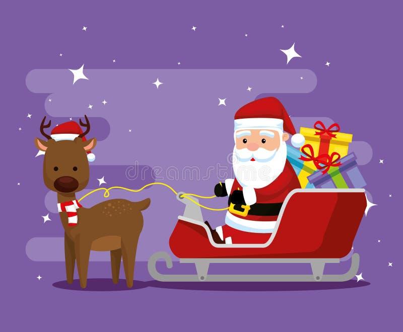 Ciervos con Papá Noel en el trineo y los regalos ilustración del vector