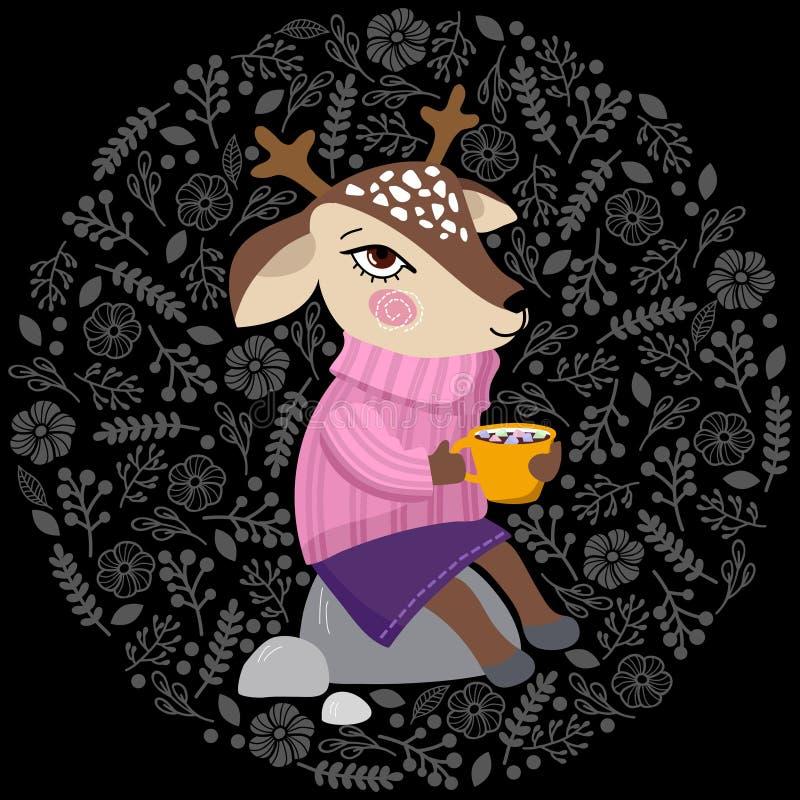 Ciervos con una taza de café con las melcochas que se sientan en una piedra en un suéter acogedor stock de ilustración