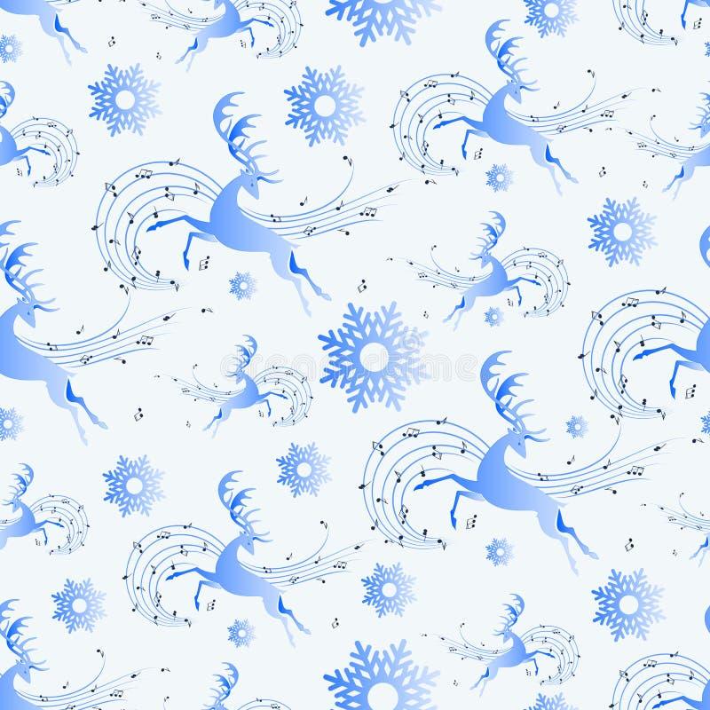Ciervos de funcionamiento y música del invierno ilustración del vector