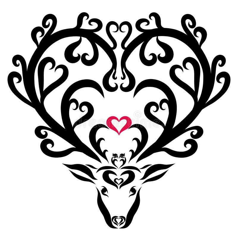 Ciervos de hadas hermosos con los corazones y flores en los cuernos ilustración del vector