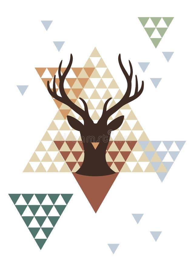 Ciervos de la Navidad con el modelo geométrico, vector ilustración del vector