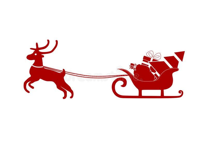 Ciervos de la Navidad con el trineo con los regalos ilustración del vector