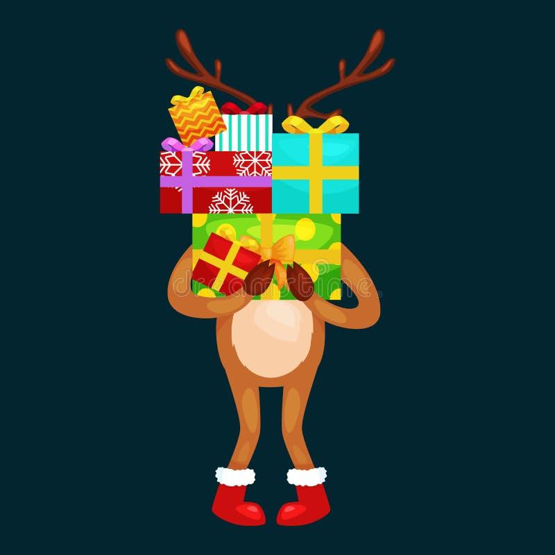 Ciervos de la Navidad con la bandera aislada, tarjeta de felicitación animal del invierno del día de fiesta feliz de Navidad, vec libre illustration