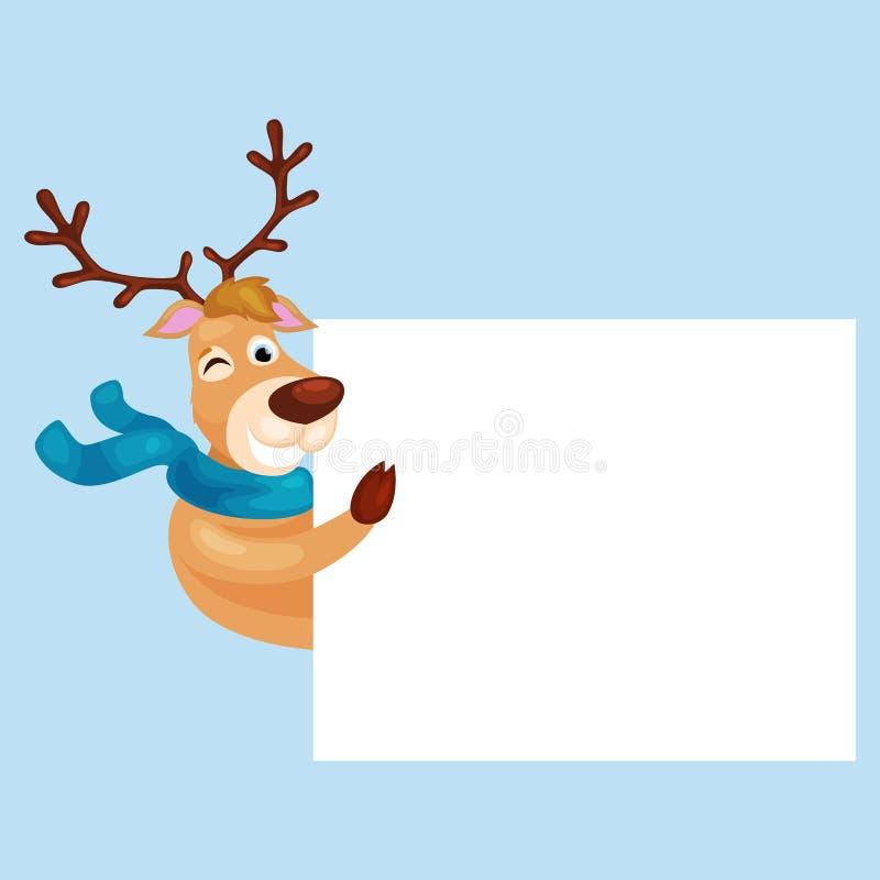 Ciervos de la Navidad con la bandera, tarjeta de felicitación animal del invierno del día de fiesta feliz de Navidad, vector del  stock de ilustración