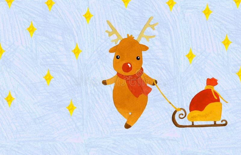Ciervos de la Navidad con un bolso de regalos en un trineo libre illustration
