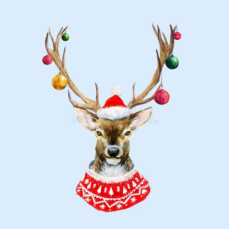 Ciervos de la Navidad de la acuarela ilustración del vector