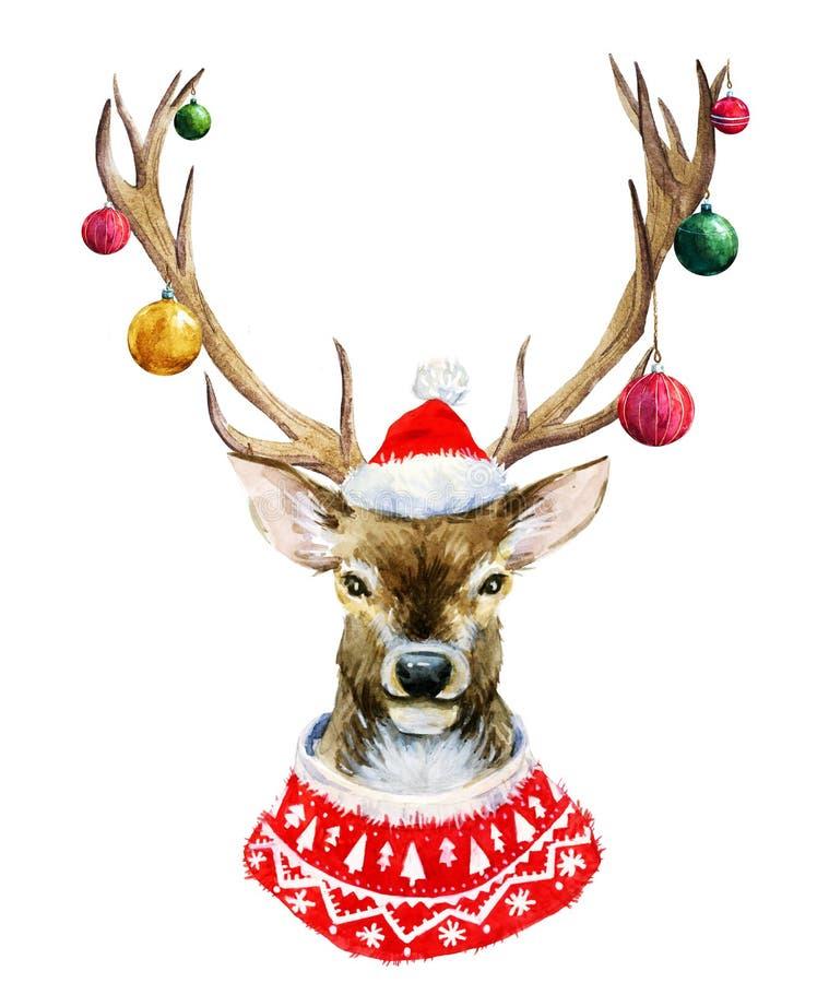 Ciervos de la Navidad de la acuarela stock de ilustración