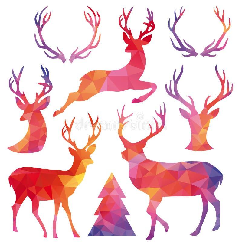Ciervos de la Navidad del polígono, sistema del vector stock de ilustración