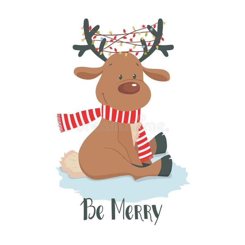 Ciervos de la Navidad Reno lindo en un fondo blanco ilustración del vector