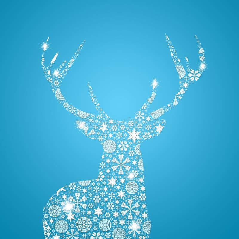 Ciervos de la silueta. Tarjeta de Navidad libre illustration