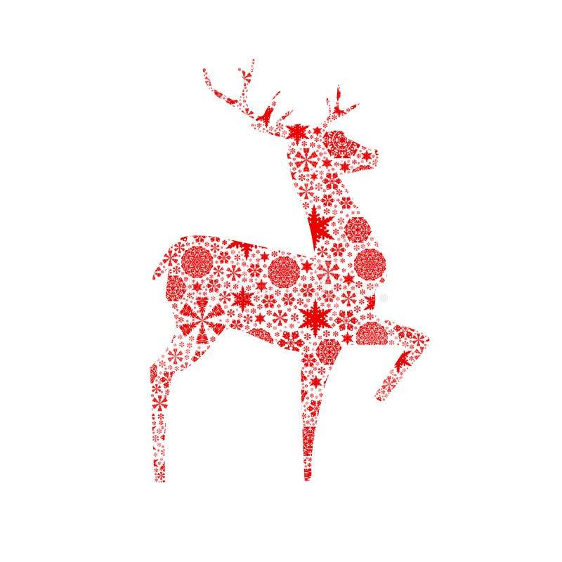 Ciervos de la silueta. Tarjeta de Navidad ilustración del vector