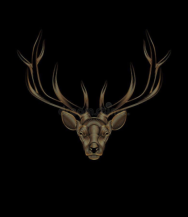 Ciervos de oro estilizados en fondo negro Retrato de un ciervo libre illustration