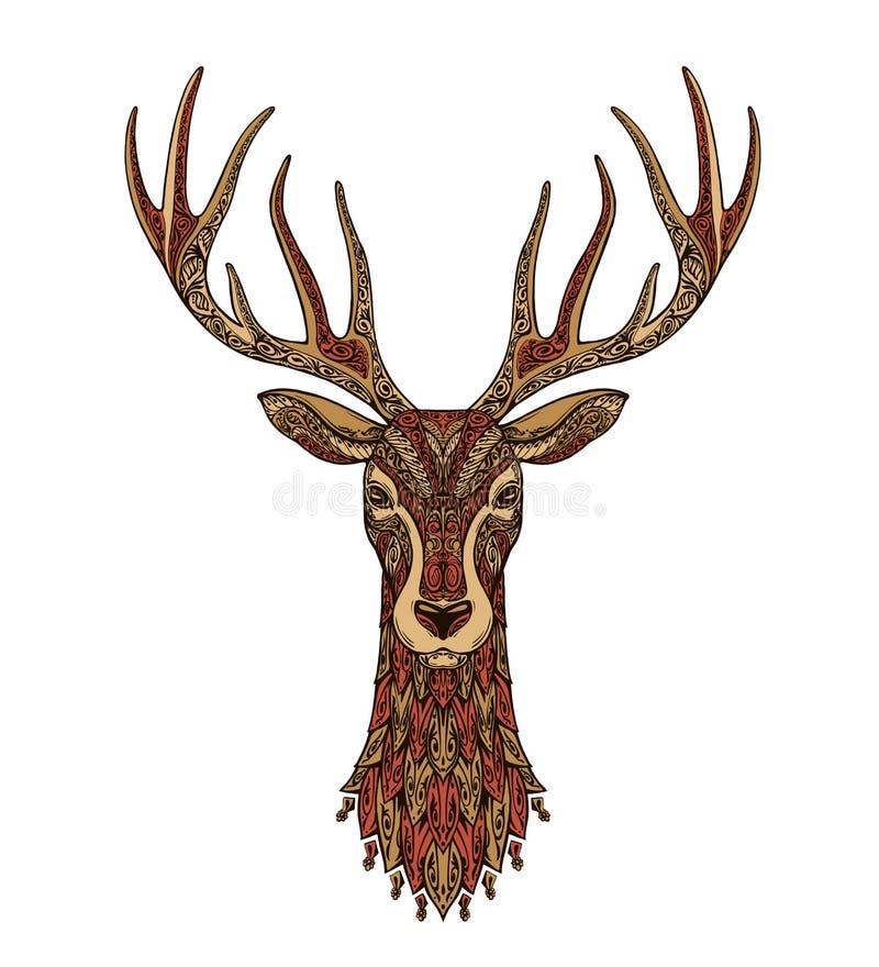 Ciervos decorativos Reno de la Navidad Ilustración del vector libre illustration