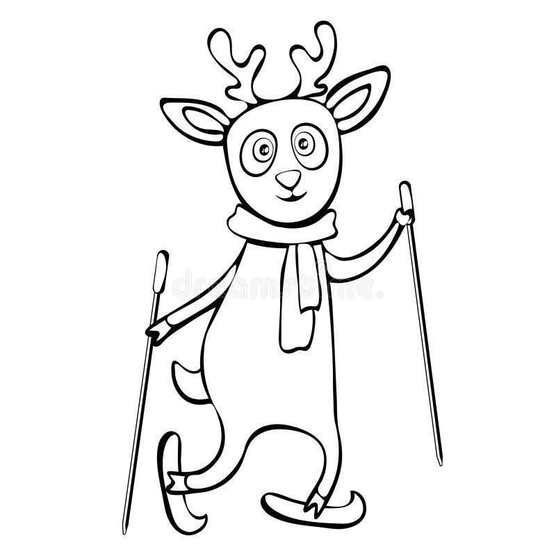 Ciervos divertidos lindos pintados en el dibujo linear de esquí de la mano del paseo de la bufanda, personaje de dibujos animados ilustración del vector