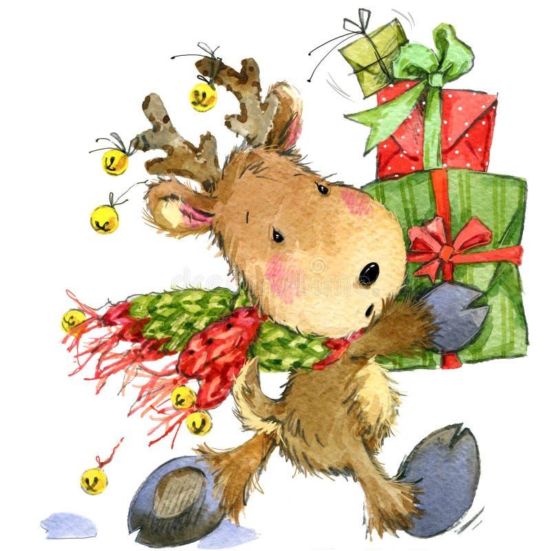 Ciervos divertidos Santa Claus Ilustración de la acuarela ilustración del vector