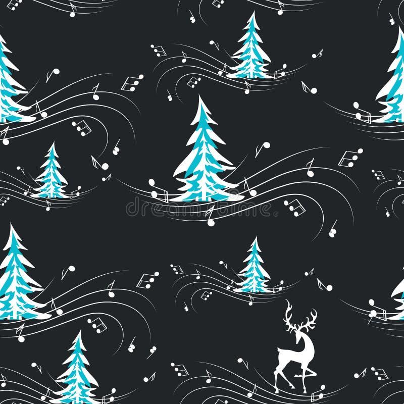 Ciervos en la música de la noche del invierno del bosque del invierno Modelo inconsútil con los abetos, los ciervos y las notas m ilustración del vector