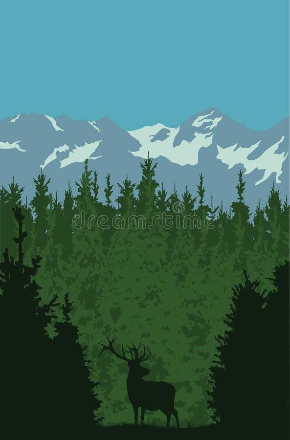 Ciervos en un bosque contra un fondo del soporte libre illustration