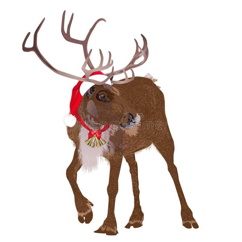 Ciervos en un casquillo divertido del rojo del ` s de Papá Noel Ilustración del vector libre illustration