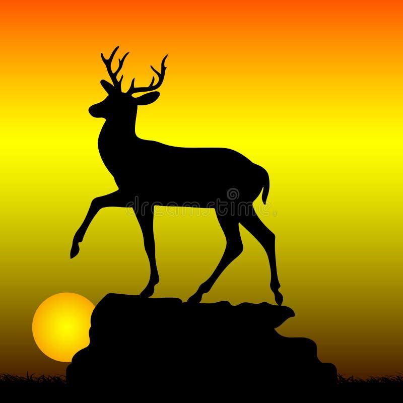 Ciervos encima de una colina, silueta de la montaña en un backgrou de la salida del sol libre illustration