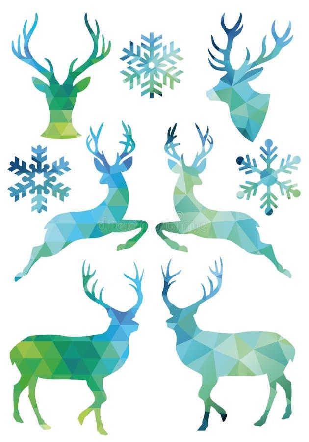 Ciervos geométricos de la Navidad, sistema del vector libre illustration