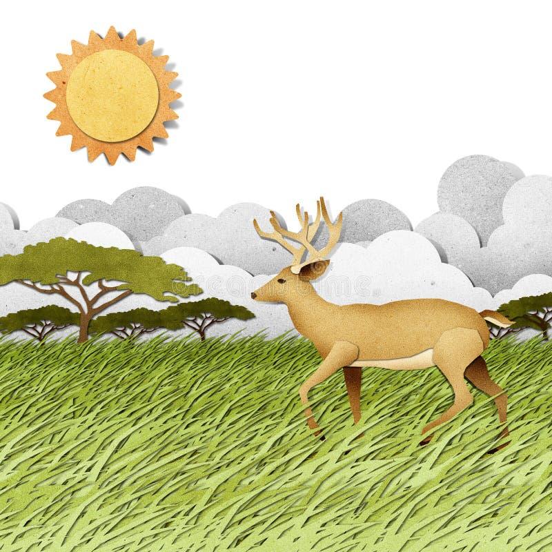 Ciervos hechos de fondo reciclado del arte de papel ilustración del vector