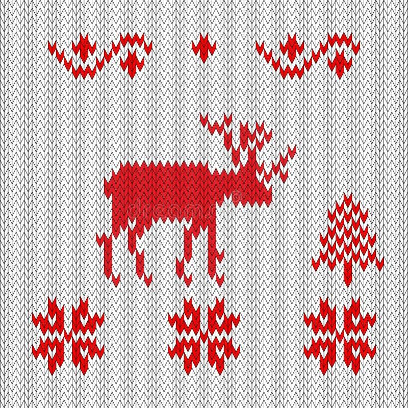 Ciervos hechos punto, estilo retro rojo-blanco Copos de nieve del bosque del invierno libre illustration