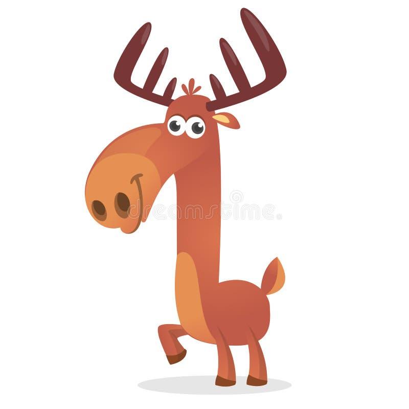 Ciervos lindos Carácter animal del bosque cómico del estilo de la historieta Mascota masculina del reno ilustración del vector