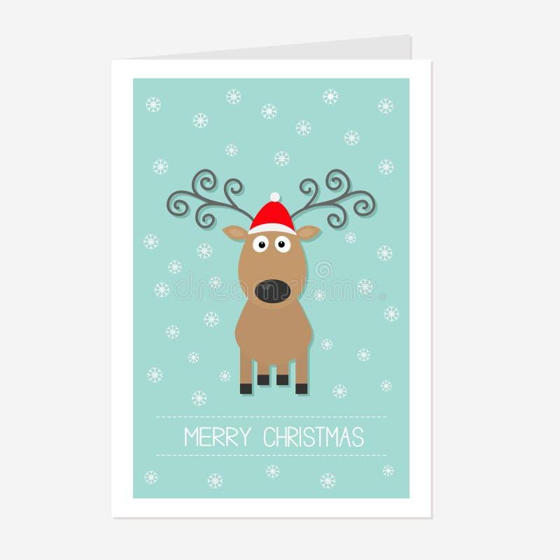 Ciervos lindos con los cuernos rizados, sombrero rojo de la historieta de santa snowflake Diseño plano del fondo azul de la tarje ilustración del vector