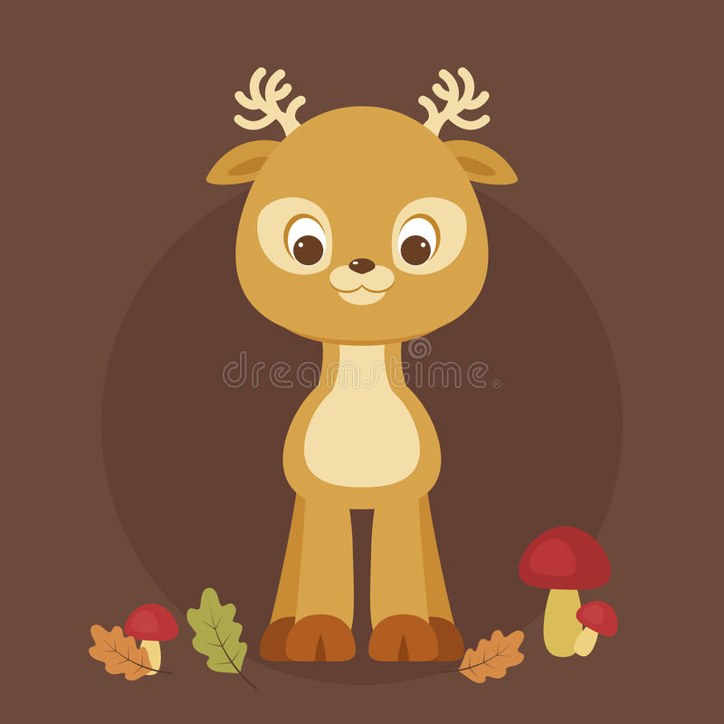 Ciervos lindos del bebé de la historieta ilustración del vector