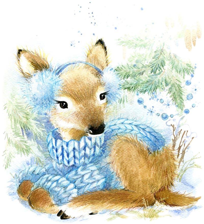 Ciervos lindos del bebé en bosque del invierno ilustración del vector
