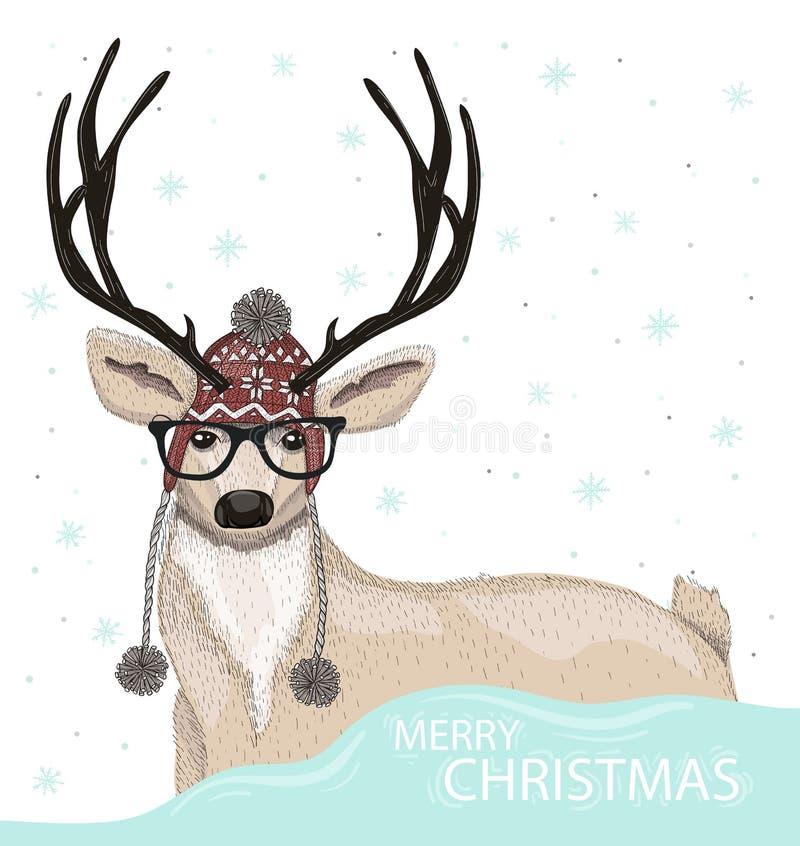 Ciervos lindos del inconformista con el fondo del invierno del sombrero y de los vidrios stock de ilustración