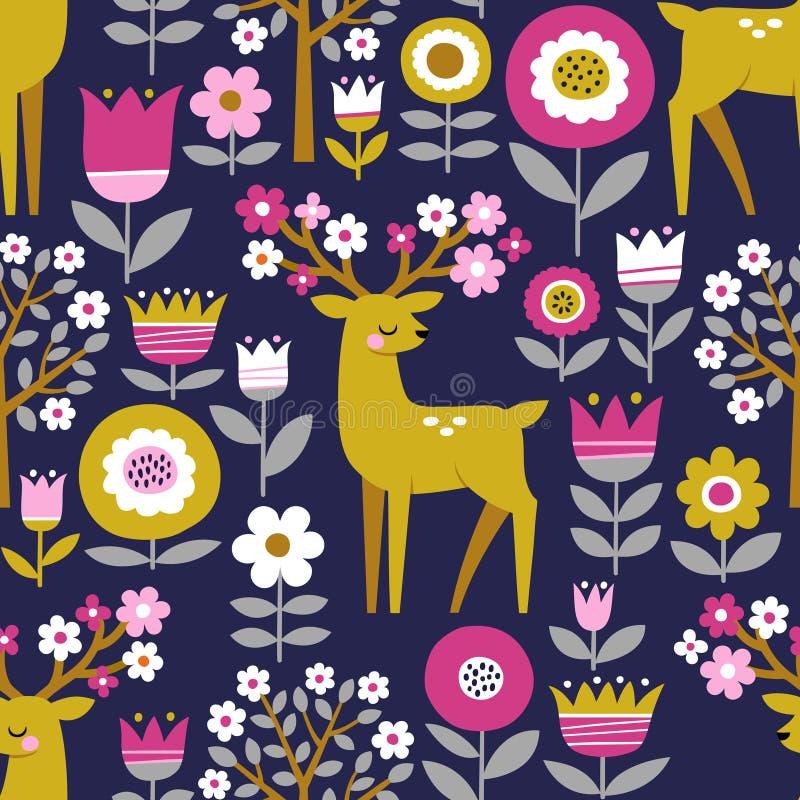 Ciervos lindos, flores y árboles florecientes stock de ilustración