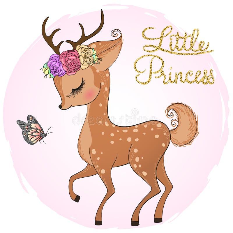 Ciervos lindos hermosos exhaustos de la mano pequeños con la muchacha de la princesa ilustración del vector
