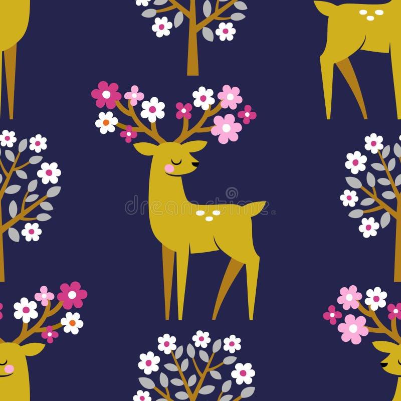 Ciervos lindos y árboles florecientes de la primavera libre illustration