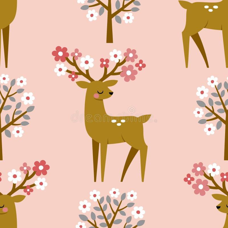 Ciervos lindos y árboles florecientes de la primavera stock de ilustración