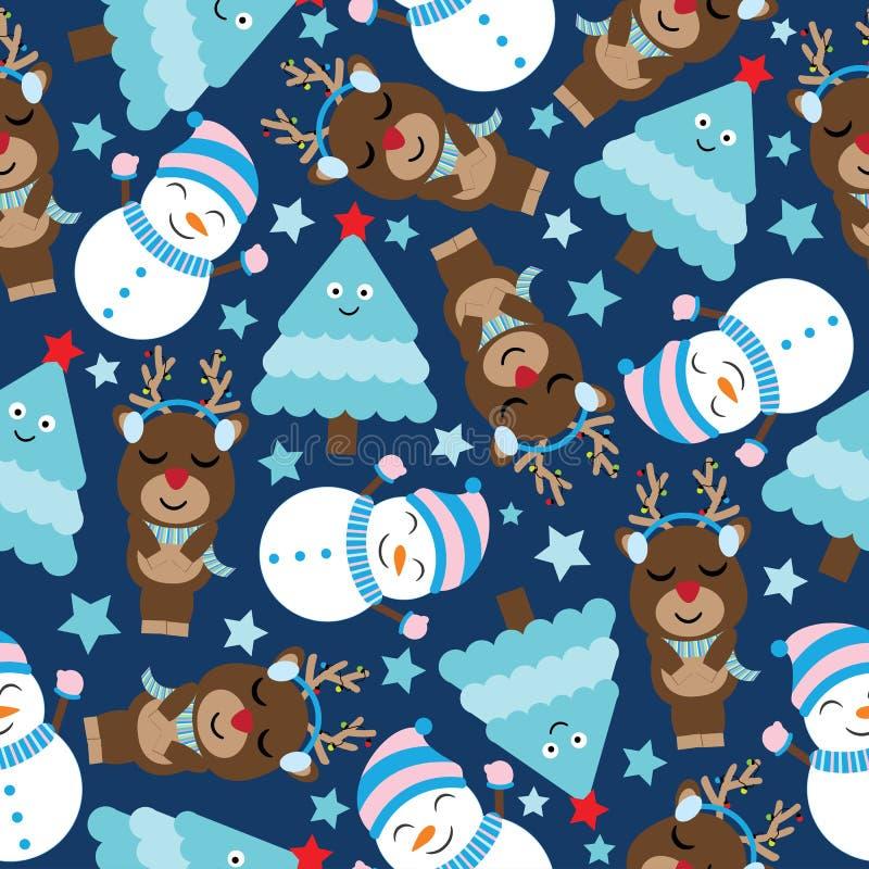Ciervos, muñeco de nieve y árbol lindos en historieta azul marino del fondo, modelo de Navidad, la postal, y el papel pintado inc stock de ilustración