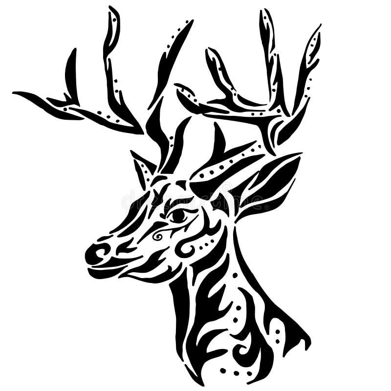 Ciervos Para Colorear O El Tatuaje En El Fondo Blanco Ilustración ...