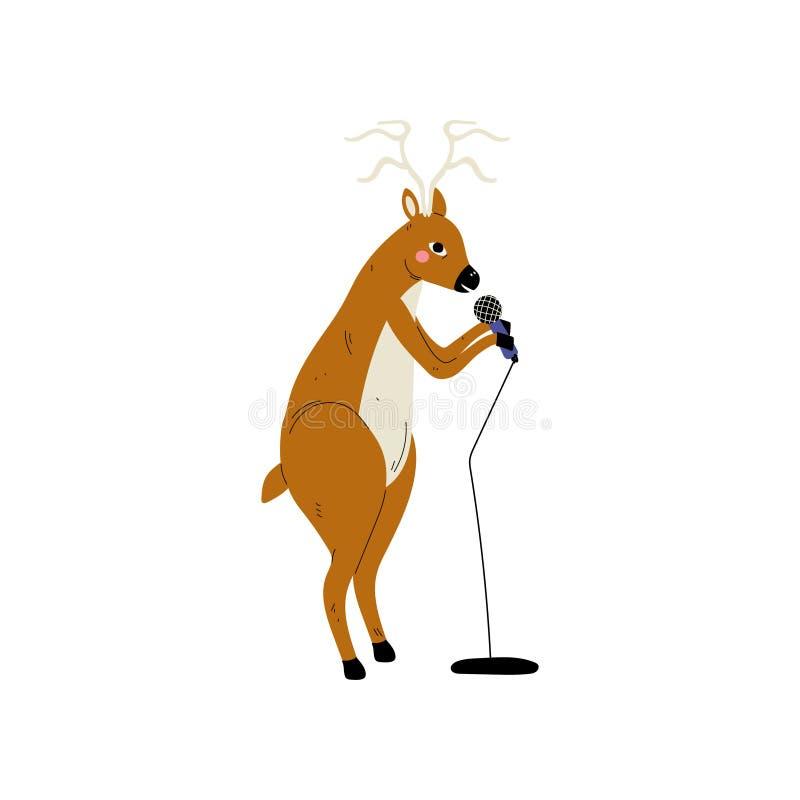 Ciervos que cantan con el micrófono, ejemplo animal del vector del instrumento de Character Playing Musical del cantante de la hi stock de ilustración