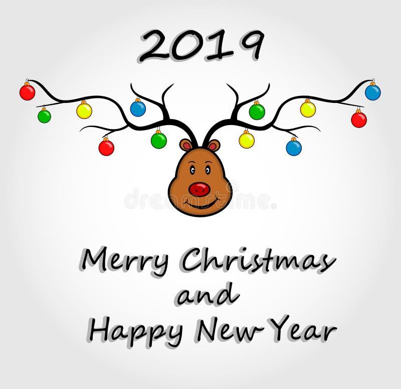 Ciervos Tarjeta de la Feliz Navidad y de la Feliz Año Nuevo Tarjeta de felicitación de los ciervos de la Navidad ilustración del vector