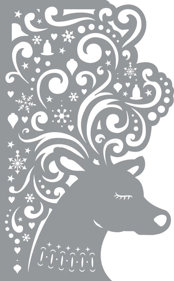 Ciervos Tarjeta decorativa Plantilla de corte del laser stock de ilustración