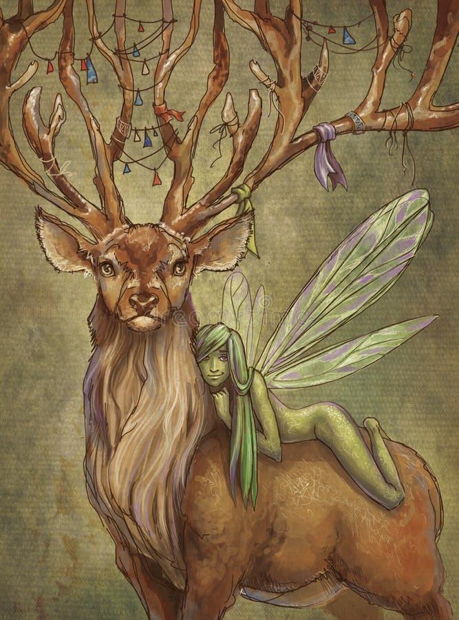 Ciervos y hada libre illustration